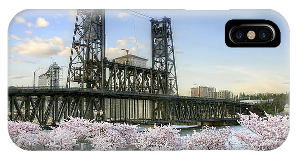 Steel Bridge And Cherry Blossom Trees In Portland Oregon IPhone Case
