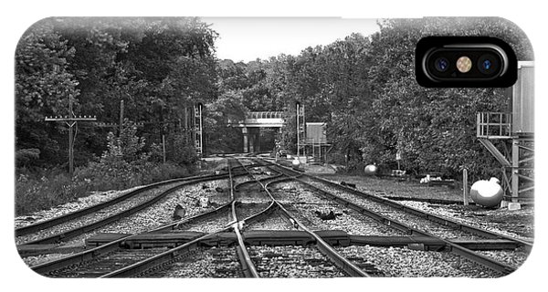Steel Rail Intersections.   Point Of Rocks Md IPhone Case
