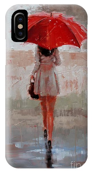 Umbrella iPhone Case - Stepping Out by Laura Lee Zanghetti