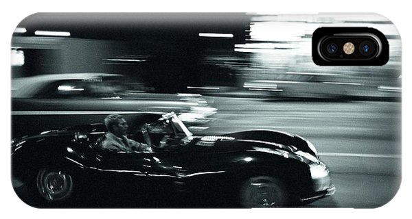 Steve Mcqueen Jaguar Xk-ss On Sunset Blvd IPhone Case