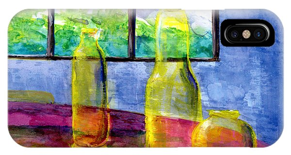 Still Life Art Bright Yellow Bottles And Blue Wall IPhone Case