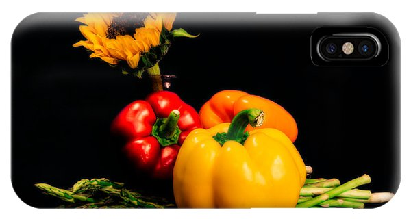 Still Life Peppers Asparagus Sunflower IPhone Case