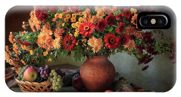 Bouquet iPhone Case - Still Life With A Bouquet Of Chrysanthemums And Fruit by ??????????? ??????????
