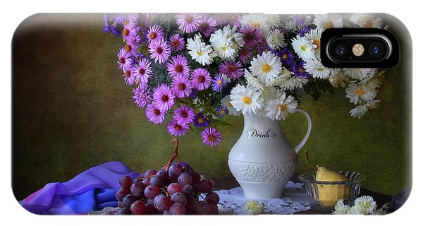 Bouquet iPhone Case - Still Life With A Bouquet Of Chrysanthemums And Grapes by ??????? ????????
