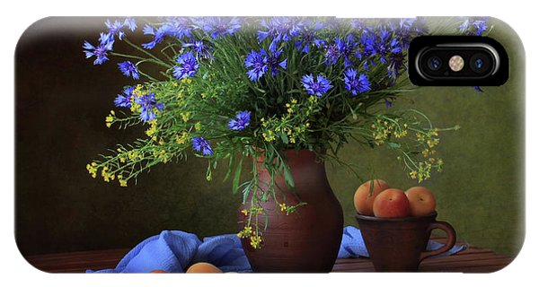 Bouquet iPhone Case - Still Life With A Bouquet Of Cornflowers And Apricots by ??????? ????????