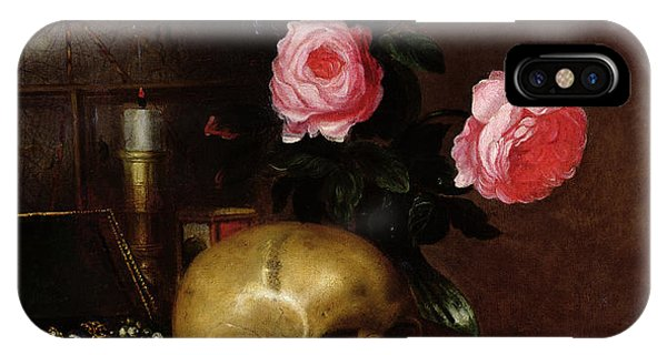 Crane iPhone Case - Still Life With A Skull Oil On Canvas by Letellier