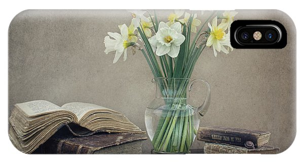 Bouquet iPhone Case - Still Life With Daffodils, Old Books And Snails by Dimitar Lazarov -
