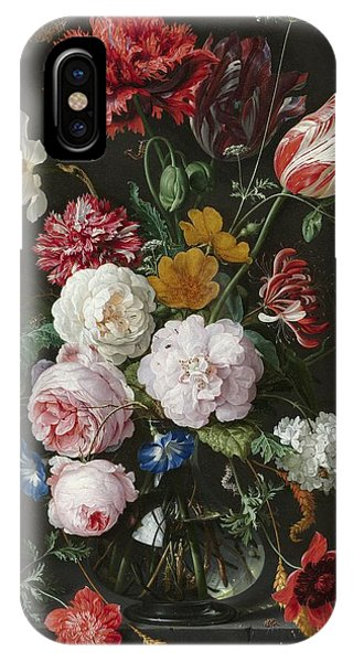Still Life With Flowers In Glass Vase IPhone Case
