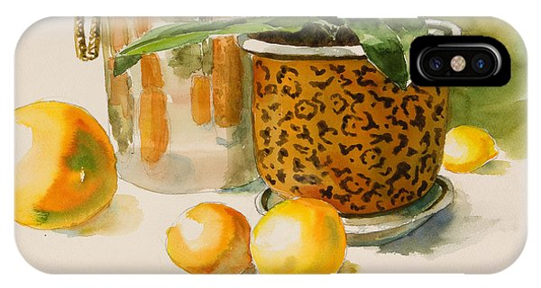 Still Life With Lemons And Potted Plant Phone Case by Pablo Rivera