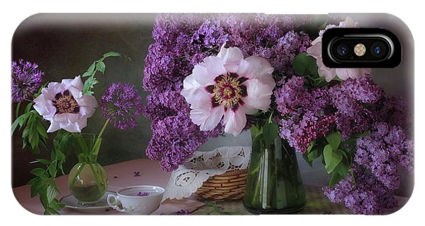 Bouquet iPhone Case - Still Life With Lilac And Peonies by ??????? ????????