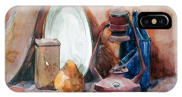 Watercolor Still Life With Rustic, Old Miners Lamp IPhone Case