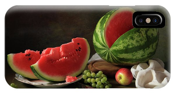 Red Fruit iPhone Case - Still Life With Watermelon And Grapes by ??????????? ??????????