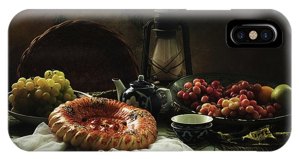 Fruit Bowl iPhone Case - Stilllife  With Cake And Grapes by Ustinagreen
