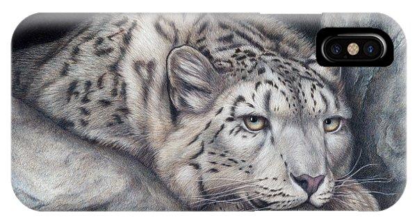 Snow Leopard iPhone Case - Stillnes Like A Stone by Pat Erickson