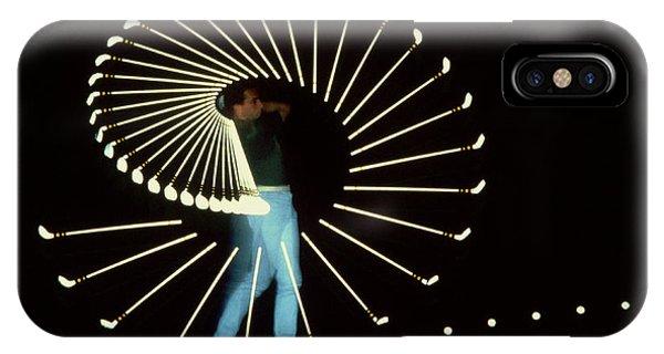 Stop Action iPhone Case - Stroboscopic Golf Swing by Michel Hans Vandystadt