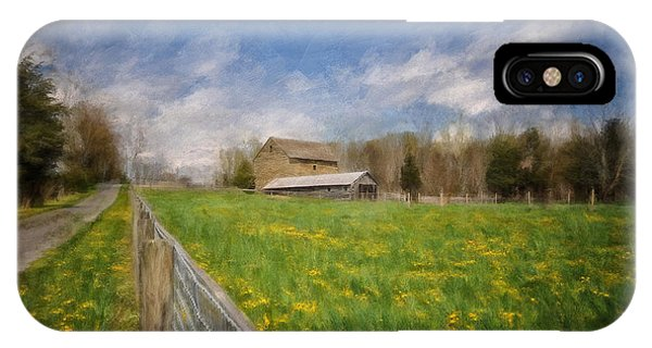 Barn iPhone Case - Stone Barn On A Spring Morning by Lois Bryan