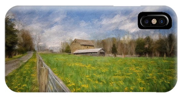 Stone Barn On A Spring Morning IPhone Case
