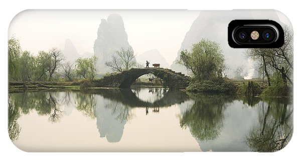 Road iPhone Case - Stone Bridge In Guangxi Province China by King Wu
