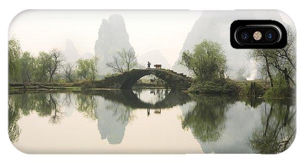 Bridge iPhone Case - Stone Bridge In Guangxi Province China by King Wu