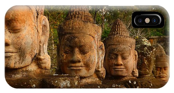 Cambodia iPhone Case - Stone Heads by FireFlux Studios