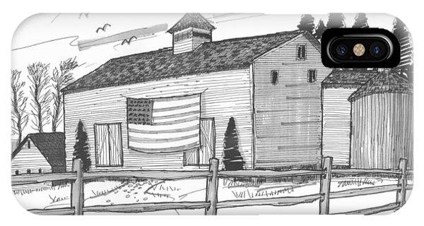 Stone Ridge Barn With Flag IPhone Case