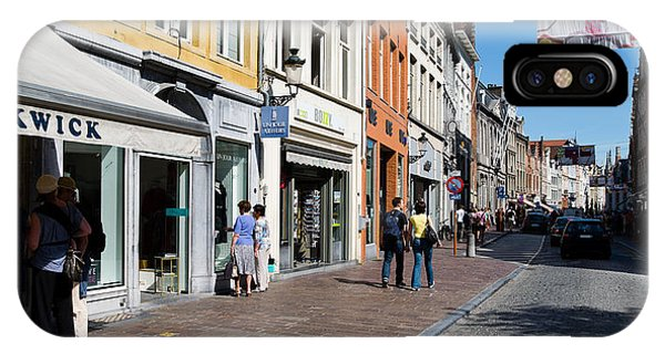 Window Shopping iPhone Case - Stores In A Street, Bruges, West by Panoramic Images