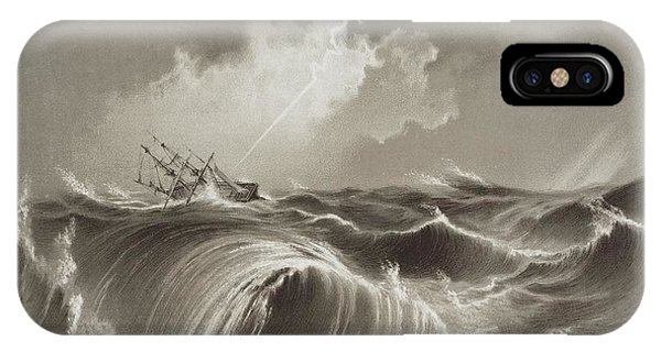 Drown iPhone Case - Storm At Sea Engraving by David Parker/science Photo Library