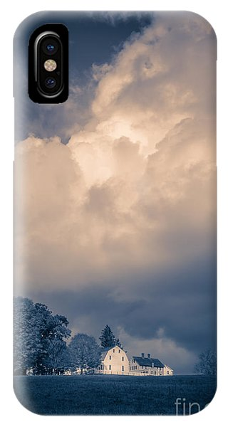 New England Barn iPhone Case - Storm Coming To The Old Farm by Edward Fielding