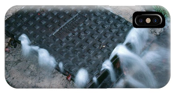 Drain iPhone Case - Storm Drain Overflowing by Adam Hart-davis/science Photo Library