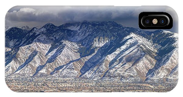 Storm Front Passes Over The Wasatch Mountains And Salt Lake Valley - Utah IPhone Case