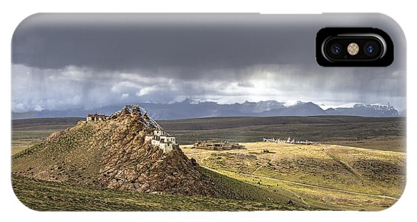 IPhone Case featuring the photograph Storm Over Chiu Monastery, Chiu, 2011 by Hitendra SINKAR
