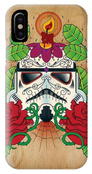 Skull iPhone Case - Storm Trooper Sugar Skull by Samuel Whitton