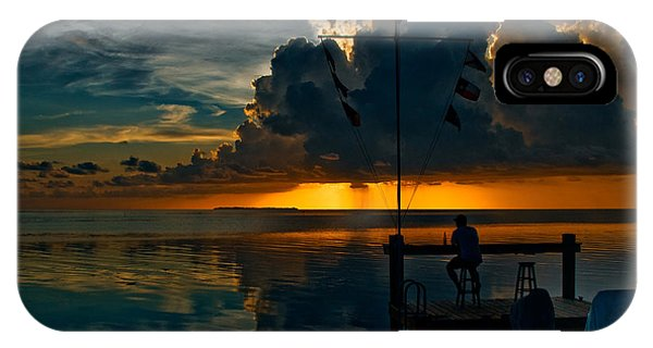 Sunset Tropical Storm And Watcher In Florida Keys IPhone Case