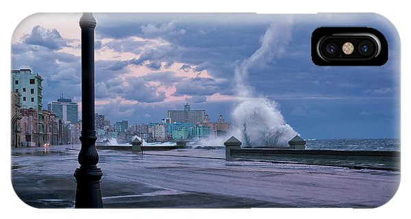 Wet iPhone Case - Stormy Malecon by Mike Kreiten