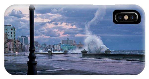 Pier iPhone Case - Stormy Malecon by Mike Kreiten