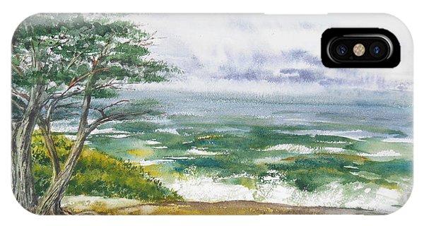 Shore iPhone Case - Stormy Morning At Carmel By The Sea California by Irina Sztukowski