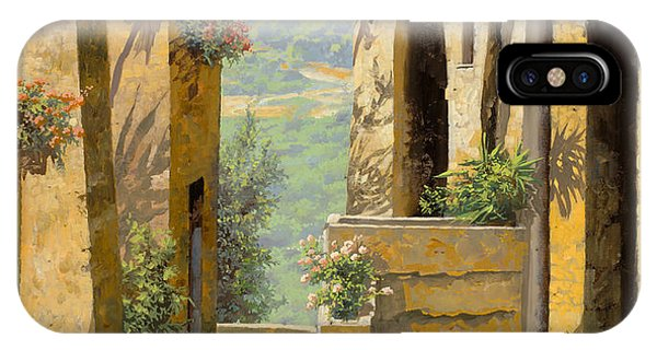 IPhone Case featuring the painting stradina a St Paul de Vence by Guido Borelli