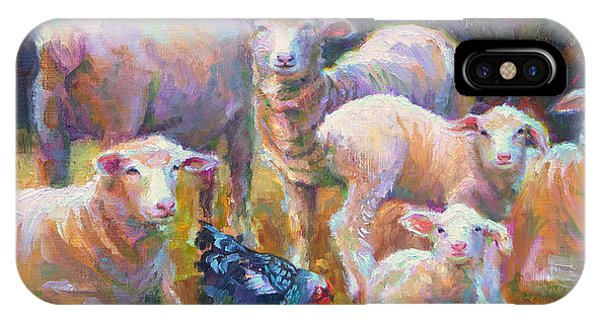 Stranger At The Well - Spring Lambs Sheep And Hen IPhone Case
