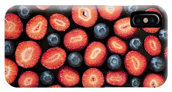 Red Fruit iPhone Case - Strawberries And Blueberries by Tim Gainey
