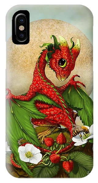 Dragon iPhone X Case - Strawberry Dragon by Stanley Morrison