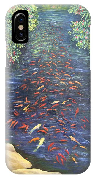 IPhone Case featuring the painting Stream Of Koi by Karen Zuk Rosenblatt