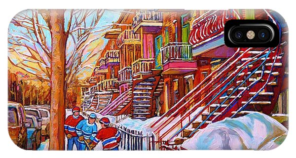 Street Hockey Game In Montreal Winter Scene With Winding Staircases Painting By Carole Spandau IPhone Case