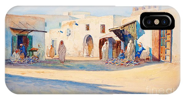IPhone Case featuring the painting Street Scene From Tunisia. by Celestial Images