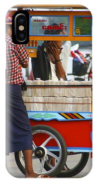 Street Seller At The Foreshore Of The Yangon River Yangon Myanmar IPhone Case