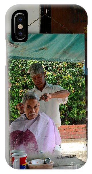 Street Side Barber Cuts Client Hair Singapore IPhone Case