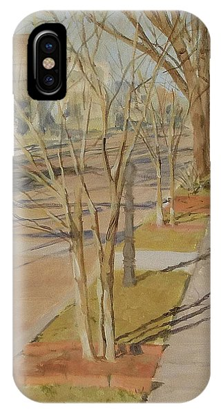 Street Trees With Winter Shadows IPhone Case