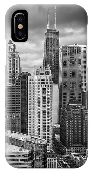 Chicago Skyline Art iPhone Case - Streeterville From Above Black And White by Adam Romanowicz