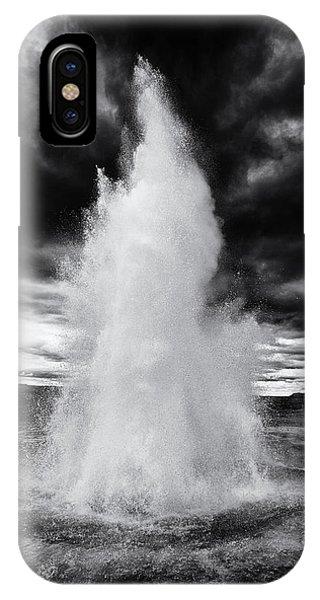 Strokkur Geyser Iceland Black And White IPhone Case