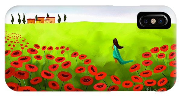 Strolling Among The Red Poppies IPhone Case