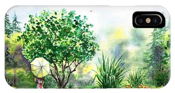 Umbrella Pine iPhone Case - Strolling In The Garden by Irina Sztukowski